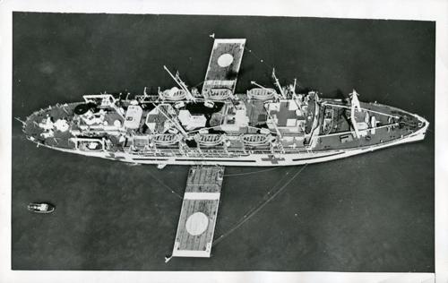 USS Haven in Korea, before installation of helipad.